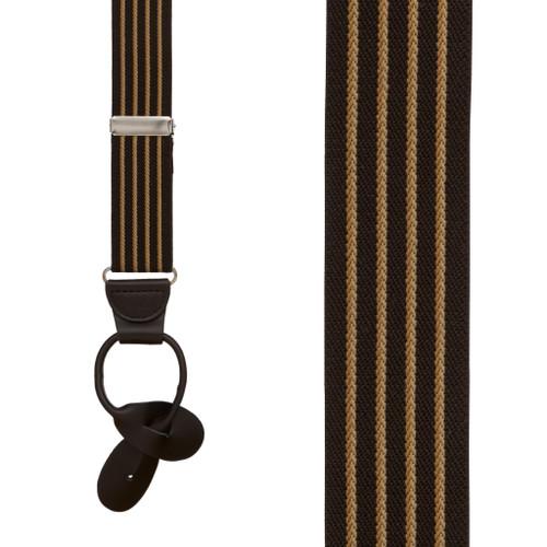 BROWN Pinstripe Elastic Suspenders - Button
