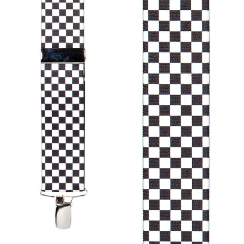 Racing Checks Suspenders - 1.5 Inch X-Back