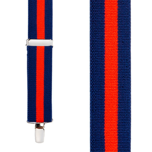 Navy/Red Striped Clip Suspenders - 1.5 Inch Wide