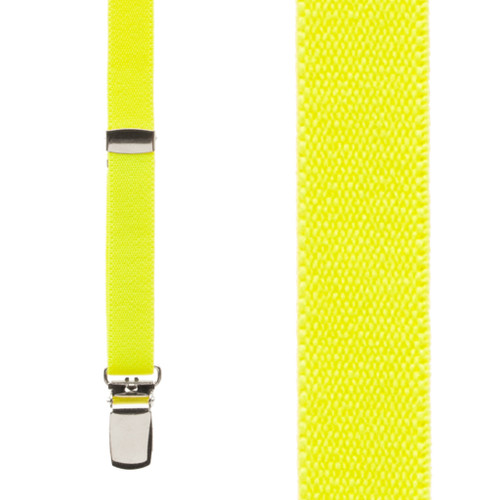 1/2 Inch Wide Skinny Suspenders - NEON YELLOW