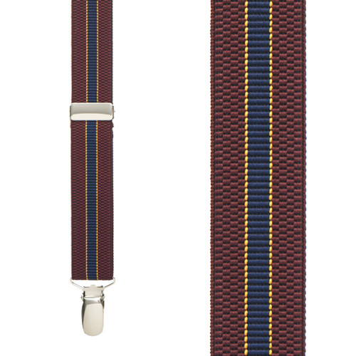 BURGUNDY/NAVY Striped Suspenders - 1 Inch Wide