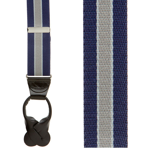 Navy/Grey Striped Button Suspenders - 1.5 Inch Wide