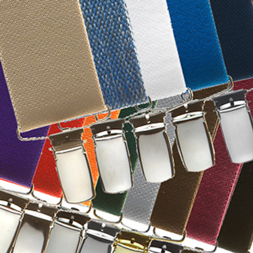 1.5 Inch Wide Clip Suspenders - Solid Colors