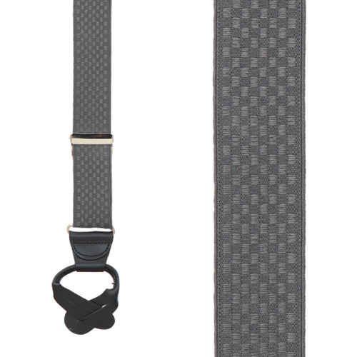 Grey Jacquard  Suspenders - Checkered Button