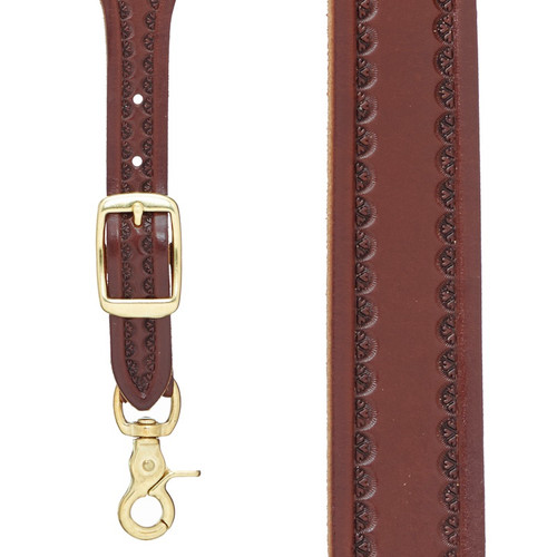 Border Stamped 1 Inch Wide Western Leather Suspenders - BROWN