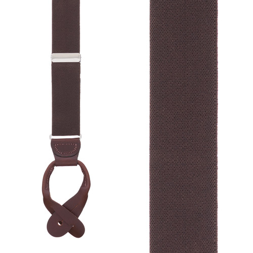 1.5 Inch Wide Button Suspenders - BROWN
