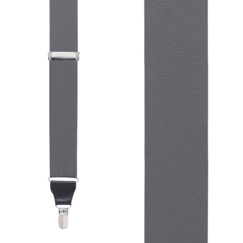 Dark Grey Grosgrain CLIP Suspenders