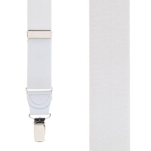 1.25 Inch Wide Y-Back Clip Suspenders - WHITE