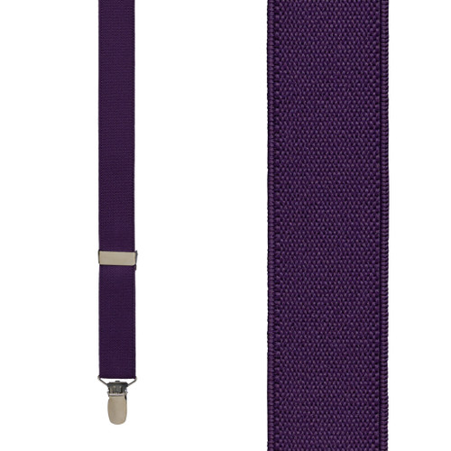 1 Inch Wide Clip Suspenders (Y-Back) - PLUM