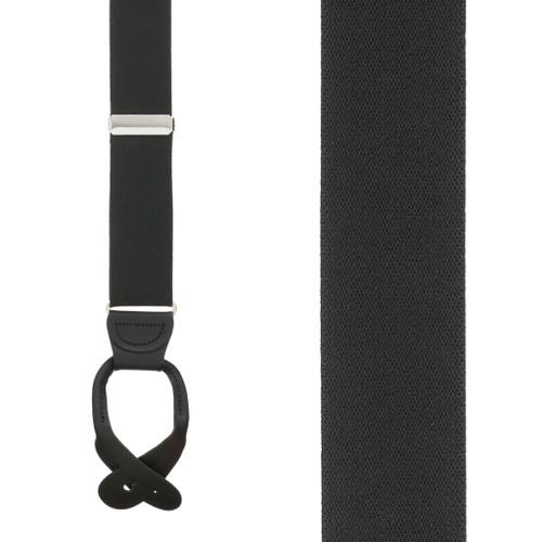 1.5 Inch Wide Button Suspenders - BLACK