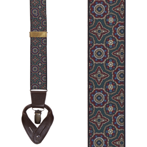 GREEN Geometric Pattern Suspenders - Convertible End