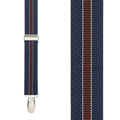 NAVY/BURGUNDY Striped Suspenders - 1 Inch Wide