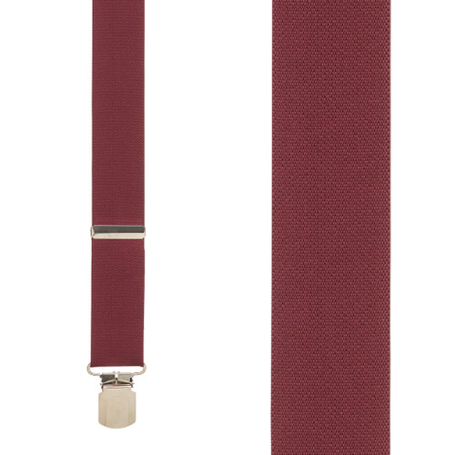 1.5 Inch Wide Pin Clip Suspenders - BURGUNDY