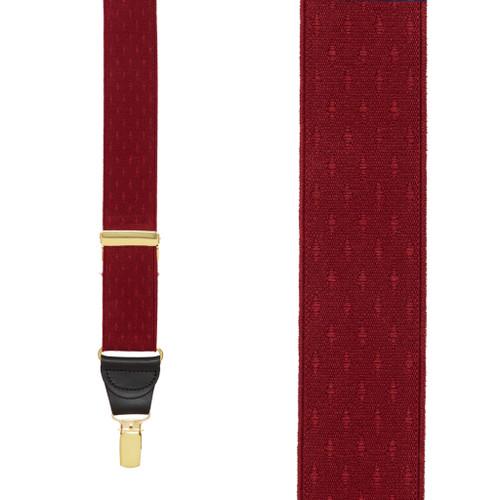 Burgundy Jacquard Suspenders - Petite Diamonds Clip