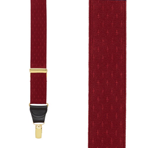 Burgundy Jacquard Suspenders - Petite Diamonds Clip