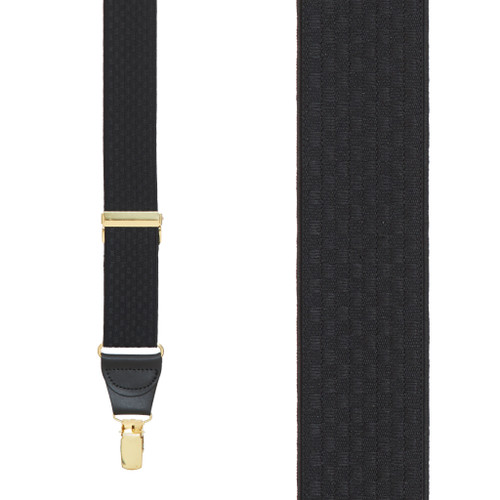 Black Jacquard Checkered Suspenders - Clip