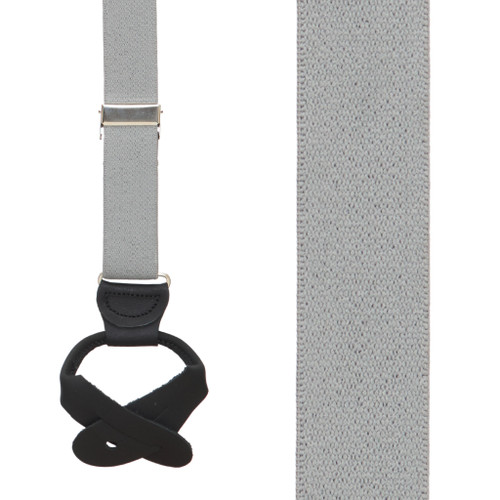 1 Inch Wide Button Suspenders - LIGHT GREY