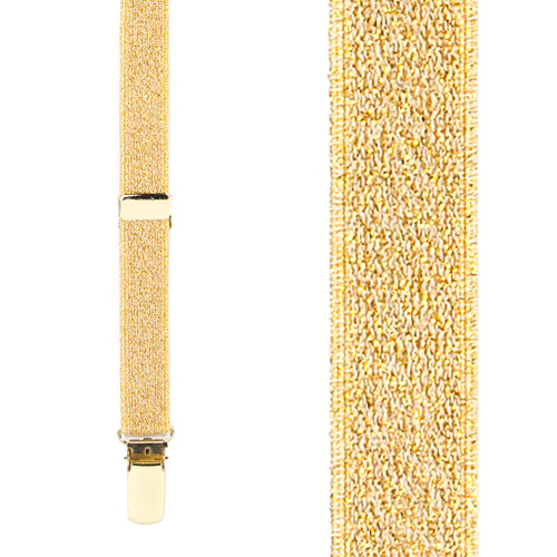 Gold Glitter Suspenders - 1 Inch Wide