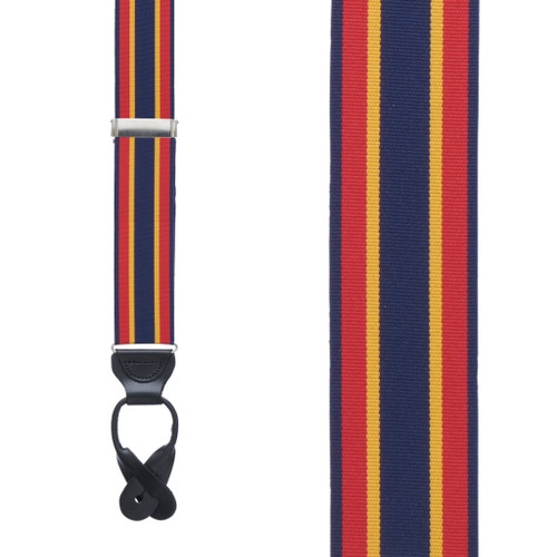 Red/Yellow/Navy Grosgrain Striped BUTTON Suspenders