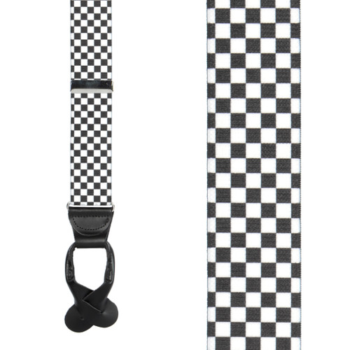 Black & White Checkered Suspenders - Button