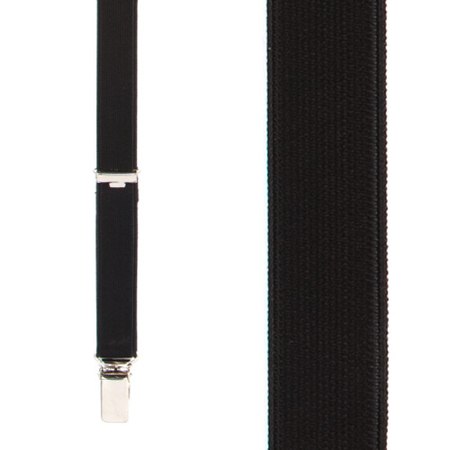 3/4 Inch Wide Thin Suspenders - BLACK (Satin)
