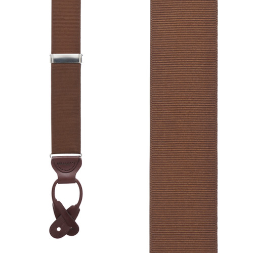 Brown Grosgrain BUTTON Suspenders
