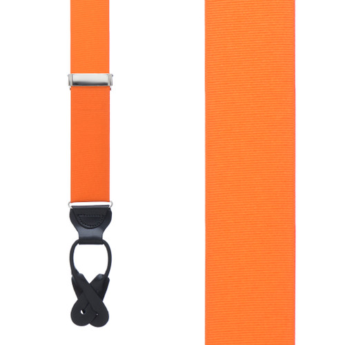 Orange Grosgrain BUTTON Suspenders