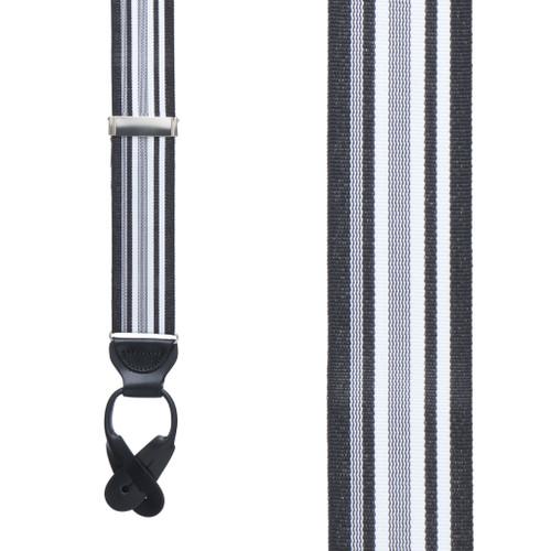 Black/White Grosgrain Striped BUTTON Suspenders