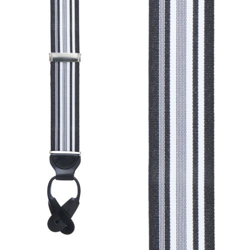 Black/White Grosgrain Striped BUTTON Suspenders