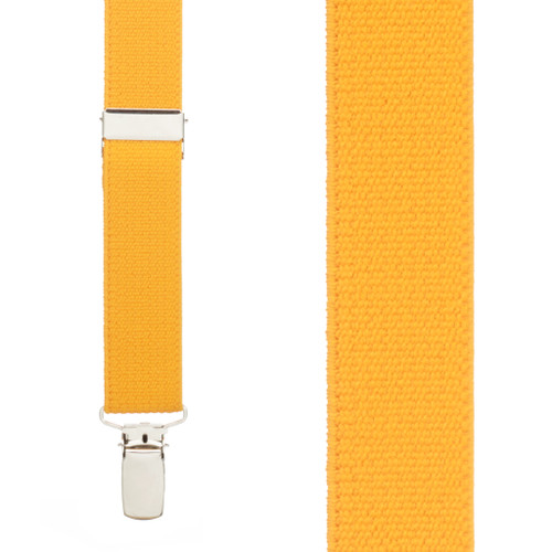 1 Inch Wide Clip Suspenders (X-Back) - GOLDEN YELLOW