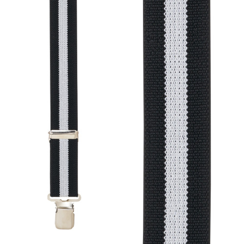 BLACK/WHITE STRIPE 1.5 Inch Wide Construction Clip Suspenders