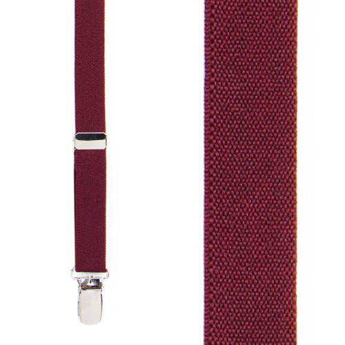 3/4 Inch Wide Thin Suspenders - BURGUNDY (Matte)