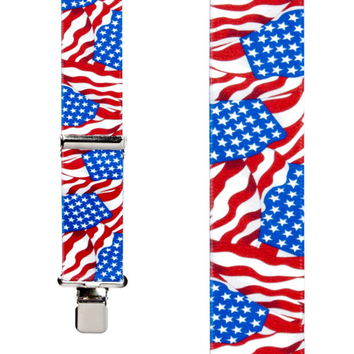 Flag Suspenders - AMERICAN, Construction Clip