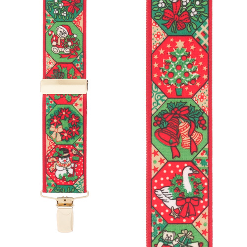 Holiday Spirit Christmas Suspenders - 1.5 Inch Wide Clip