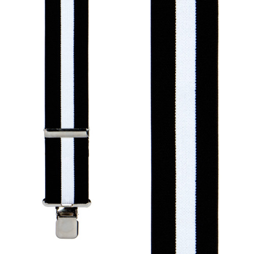 Black/White Striped Clip Suspenders - 2 Inch Wide