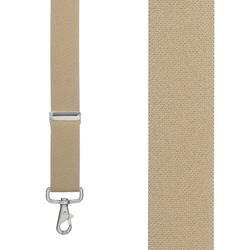 1.5 Inch Wide Trigger Snap Suspenders - TAN