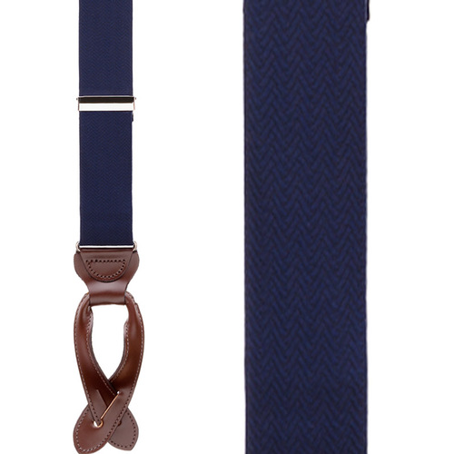 Navy Blue Herringbone Silk Suspenders - Button