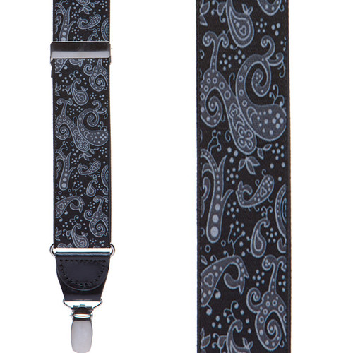 Black Paisley Drop Clip Suspenders