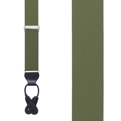 Olive Grosgrain BUTTON Suspenders