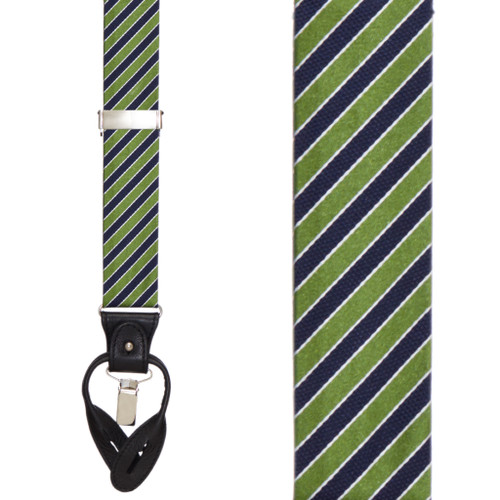 Green & Navy Diagonal Stripe Suspenders - Convertible End