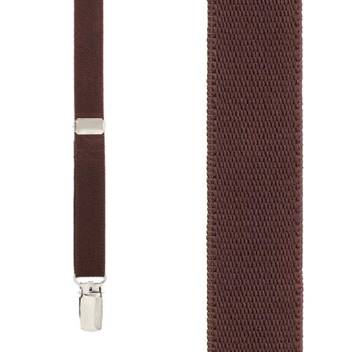 3/4 Inch Wide Thin Suspenders - Matte  BROWN