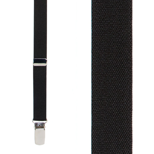 1/2 Inch Wide Skinny Suspenders - BLACK