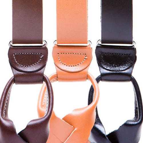 All Leather Suspenders - Button