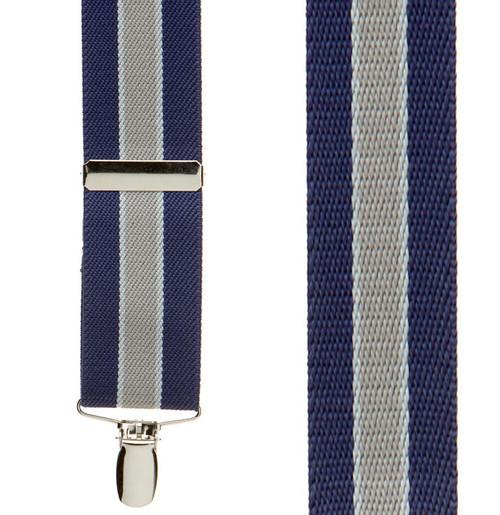 Navy/Grey Striped Clip Suspenders - 1.5 Inch Wide