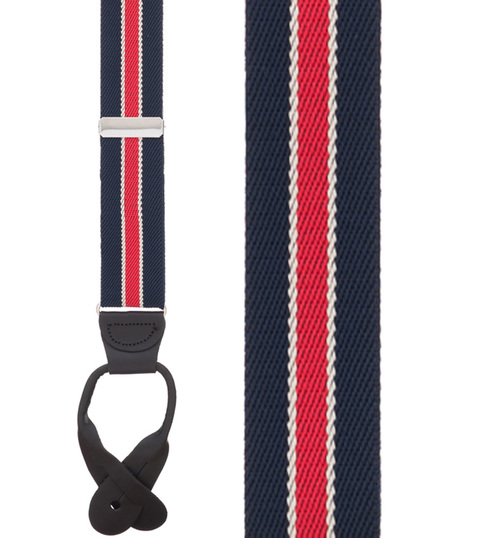 Navy/Red Striped Button Suspenders - 1.25 Inch Wide