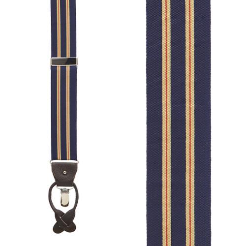Khaki/Navy Variable Stripes Barathea Suspenders