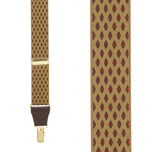 TAN Jacquard Diamond Burst Suspenders - Clip