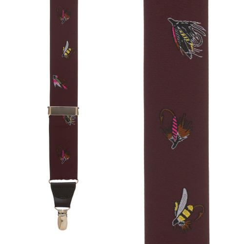 Vintage Ribbon Burgundy Fly Fishing Suspenders - CLIP