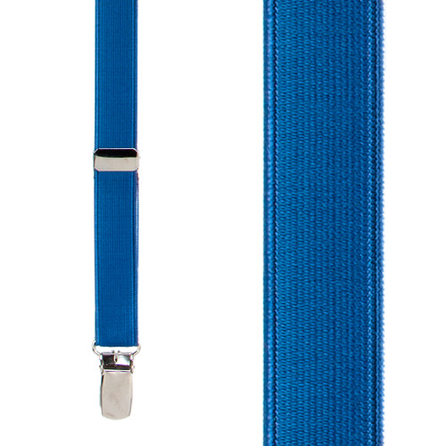 3/4 Inch Wide Thin Suspenders - POWDER BLUE (Satin)