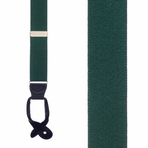 1.5 Inch Wide Button Suspenders - GREEN